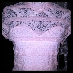 NWT GUESS Pink Lace Crop Top Size L